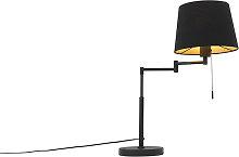 Lampe de table noire avec abat-jour noir et bras