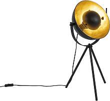 Lampe de table noire avec trépied or 63,3 cm