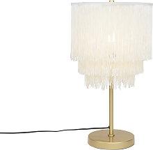 Lampe de table orientale abat-jour crème or à