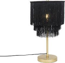 Lampe de table orientale abat-jour noir or à