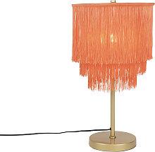 Lampe de table orientale abat-jour rose doré à