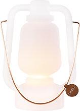Lampe de table rechargeable 30 cm IP44 blanche -