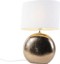 Lampe de table romantique cuivre avec abat-jour