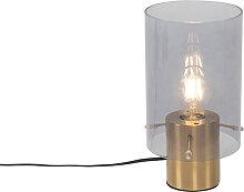 Lampe de table vintage en laiton avec verre fumé
