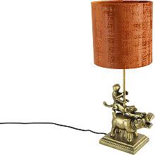 Lampe de table vintage laiton tissu abat-jour