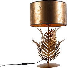Lampe de table vintage or avec abat-jour bronze -