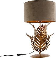Lampe de table vintage or avec abat-jour en