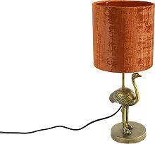 Lampe de table vintage tissu doré abat-jour rouge