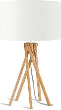 Lampe design bambou abat-jour blanc