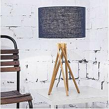 Lampe design bambou abat-jour bleu