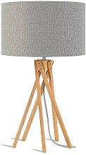 Lampe design bambou abat-jour gris clair