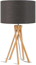 Lampe design bambou abat-jour gris