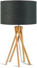 Lampe design bambou abat-jour noir