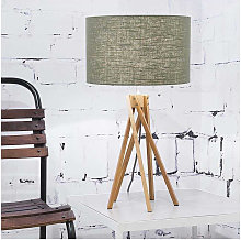 Lampe design bambou abat-jour vert