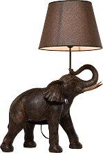 Lampe éléphant en polyrésine marron et