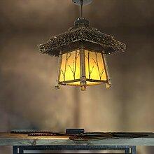 Lampe en bambou suspension en rotin rétro