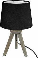 Lampe en Bois brossé et Abat-jour Noir H 31 cm -