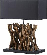 Lampe en bois de vigne et abat-jour noir