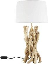 Lampe en bois flotté et abat-jour en coton H 55 cm