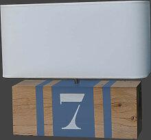 Lampe en bois gris bleu personnalisable