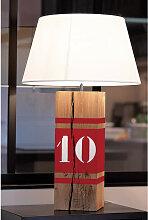 Lampe en bois haute rouge
