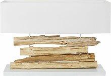 Lampe en branches d'acacia et abat-jour blanc