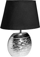 Lampe en céramique argentée abat-jour noir
