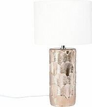 Lampe en céramique dorée sculptée et abat-jour
