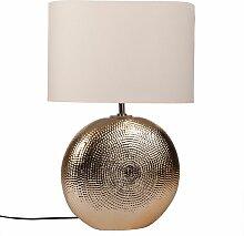 Lampe en céramique martelée dorée et abat-jour