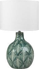 Lampe en céramique verte abat-jour en coton blanc