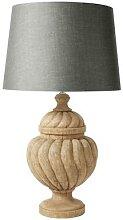 Lampe en manguier sculpté et abat-jour gris