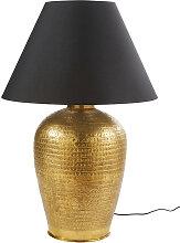 Lampe en métal bronze et abat-jour noir