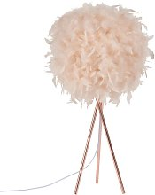 Lampe en métal et abat-jour en plumes roses