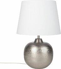 Lampe en métal gris et abat-jour blanc