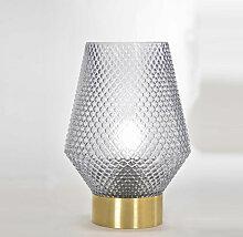 lampe en verre ciselé fumé