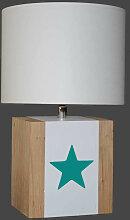 Lampe enfant blanche avec étoile vert canard