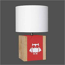 Lampe enfant rouge hibou L34