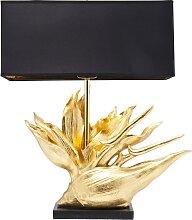 Lampe fleur en polyrésine dorée et abat-jour noir