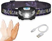 Lampe frontale à capteur intelligent rechargeable