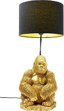 Lampe gorille en polyrésine dorée et abat-jour