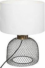 Lampe grille Emie noir blanc H38 - Noir