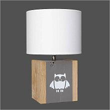 Lampe hibou bois couleur taupe