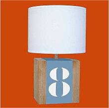 Lampe L34 bleue en bois - personnalisable