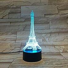 Lampe Led 3D Romantique Paris Tour Eiffel Usb