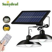 Lampe LED solaire suspendue à Double tête,