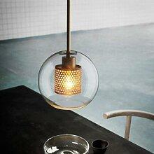 Lampe LED suspendue en forme de boule de verre,