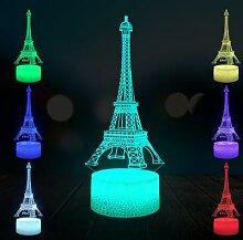 Lampe LED USB 3D en forme de tour Eiffel,