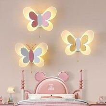 Lampe murale à motif papillon pour chambre de