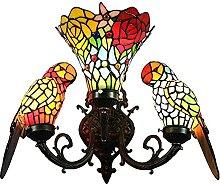 Lampe murale de style Tiffany Deux perroquet rose