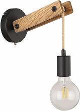 Lampe murale design bois corde de chanvre noir